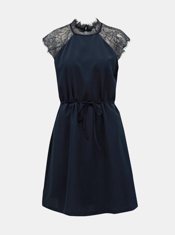 Tmavomodré šaty s čipkou ONLY Lunu - šaty na stužkovú  kráľovská modrá - saty na stuzkovu - spoločenské šaty na stužkovú - šaty na stužkovú s dlhým rukávom - plesové šaty na stužkovú - princeznovské šaty na stužkovú - tylové šaty na stužkovú - dlhé šaty na stužkovú