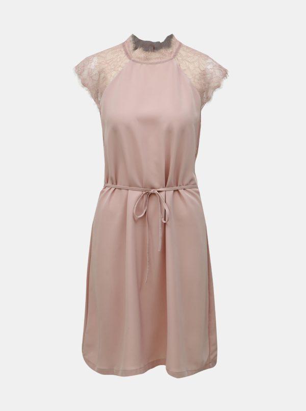 Staroružové šaty s čipkou ONLY Lunu - Šaty na stužkovú ružové - saty na stuzkovu - spoločenské šaty na stužkovú - šaty na stužkovú s dlhým rukávom - plesové šaty na stužkovú - princeznovské šaty na stužkovú - tylové šaty na stužkovú - dlhé šaty na stužkovú