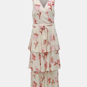 Krémové kvetované maxišaty Dorothy Perkins Tall - šaty na stužkovú - saty na stuzkovu - spoločenské šaty na stužkovú - šaty na stužkovú s dlhým rukávom - plesové šaty na stužkovú - princeznovské šaty na stužkovú - tylové šaty na stužkovú - dlhé šaty na stužkovú