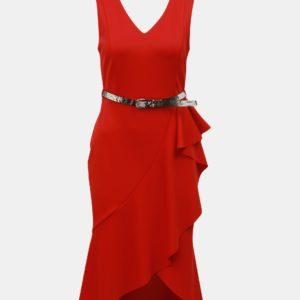 Červené puzdrové šaty s volánom Dorothy Perkins - Červené šaty na stužkovú - saty na stuzkovu - spoločenské šaty na stužkovú - šaty na stužkovú s dlhým rukávom - plesové šaty na stužkovú - princeznovské šaty na stužkovú - tylové šaty na stužkovú - dlhé šaty na stužkovú