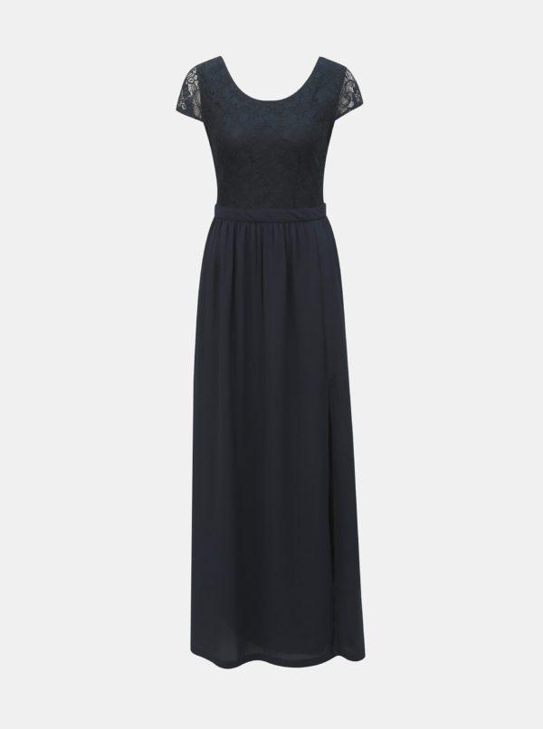 Tmavomodré maxišaty s čipkou ONLY Analina - šaty na stužkovú - saty na stuzkovu - spoločenské šaty na stužkovú - šaty na stužkovú s dlhým rukávom - plesové šaty na stužkovú - princeznovské šaty na stužkovú - tylové šaty na stužkovú - dlhé šaty na stužkovú