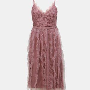 Staroružové šaty na ramienka s čipkou Little Mistress - Šaty na stužkovú ružové - saty na stuzkovu - spoločenské šaty na stužkovú - šaty na stužkovú s dlhým rukávom - plesové šaty na stužkovú - princeznovské šaty na stužkovú - tylové šaty na stužkovú - dlhé šaty na stužkovú