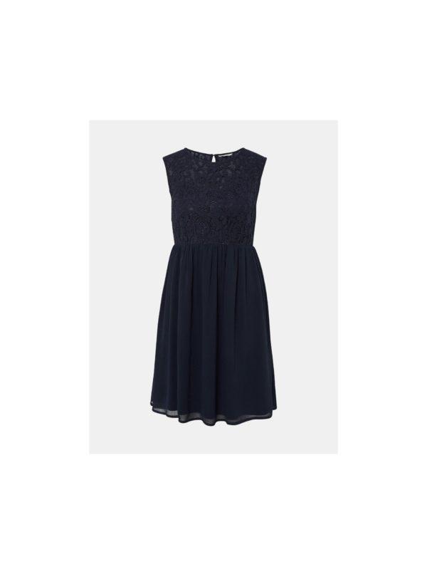 Tmavomodré šaty s čipkovaným topom Tom Tailor Denim - šaty na stužkovú  kráľovská modrá - saty na stuzkovu - spoločenské šaty na stužkovú - šaty na stužkovú s dlhým rukávom - plesové šaty na stužkovú - princeznovské šaty na stužkovú - tylové šaty na stužkovú - dlhé šaty na stužkovú