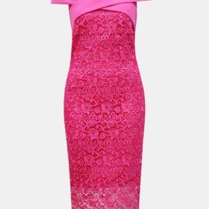 Tmavoružové čipkované puzdrové šaty s odhalenými ramenami Paper Dolls - Šaty na stužkovú ružové - saty na stuzkovu - spoločenské šaty na stužkovú - šaty na stužkovú s dlhým rukávom - plesové šaty na stužkovú - princeznovské šaty na stužkovú - tylové šaty na stužkovú - dlhé šaty na stužkovú
