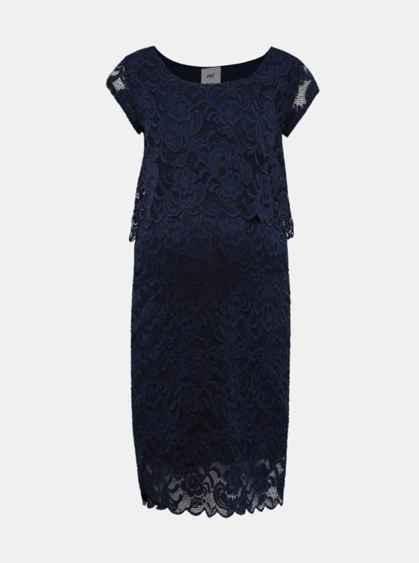 Tmavomodré krajkové tehotenské šaty vhodné na dojčenie Mama.licious Mivane - šaty na stužkovú  kráľovská modrá - saty na stuzkovu - spoločenské šaty na stužkovú - šaty na stužkovú s dlhým rukávom - plesové šaty na stužkovú - princeznovské šaty na stužkovú - tylové šaty na stužkovú - dlhé šaty na stužkovú