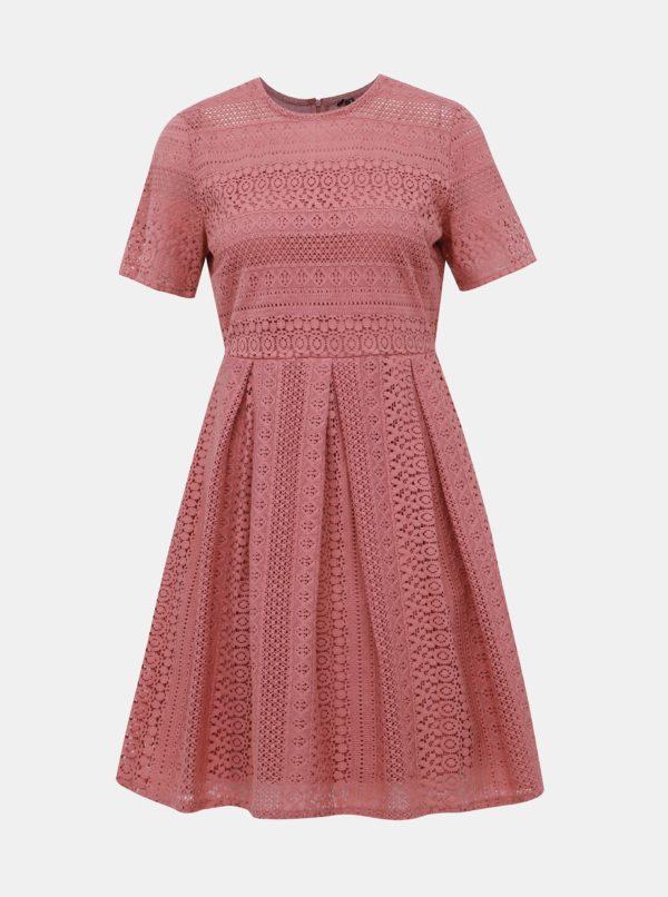 Staroružové krajkové šaty VERO MODA Honey - Šaty na stužkovú ružové - saty na stuzkovu - spoločenské šaty na stužkovú - šaty na stužkovú s dlhým rukávom - plesové šaty na stužkovú - princeznovské šaty na stužkovú - tylové šaty na stužkovú - dlhé šaty na stužkovú