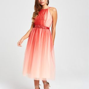 Červené midišaty s ombré efektom Little Mistress - Červené šaty na stužkovú - saty na stuzkovu - spoločenské šaty na stužkovú - šaty na stužkovú s dlhým rukávom - plesové šaty na stužkovú - princeznovské šaty na stužkovú - tylové šaty na stužkovú - dlhé šaty na stužkovú