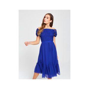 Tmavomodré šaty s odhalenými ramenami a krajkou Little Mistress - šaty na stužkovú  kráľovská modrá - saty na stuzkovu - spoločenské šaty na stužkovú - šaty na stužkovú s dlhým rukávom - plesové šaty na stužkovú - princeznovské šaty na stužkovú - tylové šaty na stužkovú - dlhé šaty na stužkovú