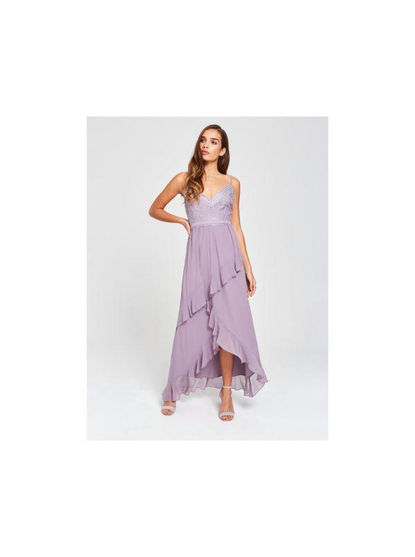 Svetlofialové maxišaty s krajkou a volánmi Little Mistress - šaty na stužkovú - saty na stuzkovu - spoločenské šaty na stužkovú - šaty na stužkovú s dlhým rukávom - plesové šaty na stužkovú - princeznovské šaty na stužkovú - tylové šaty na stužkovú - dlhé šaty na stužkovú