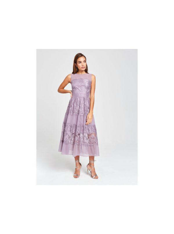 Svetlofialové krajkové midišaty Little Mistress - Šaty na stužkovú fialové - saty na stuzkovu - spoločenské šaty na stužkovú - šaty na stužkovú s dlhým rukávom - plesové šaty na stužkovú - princeznovské šaty na stužkovú - tylové šaty na stužkovú - dlhé šaty na stužkovú