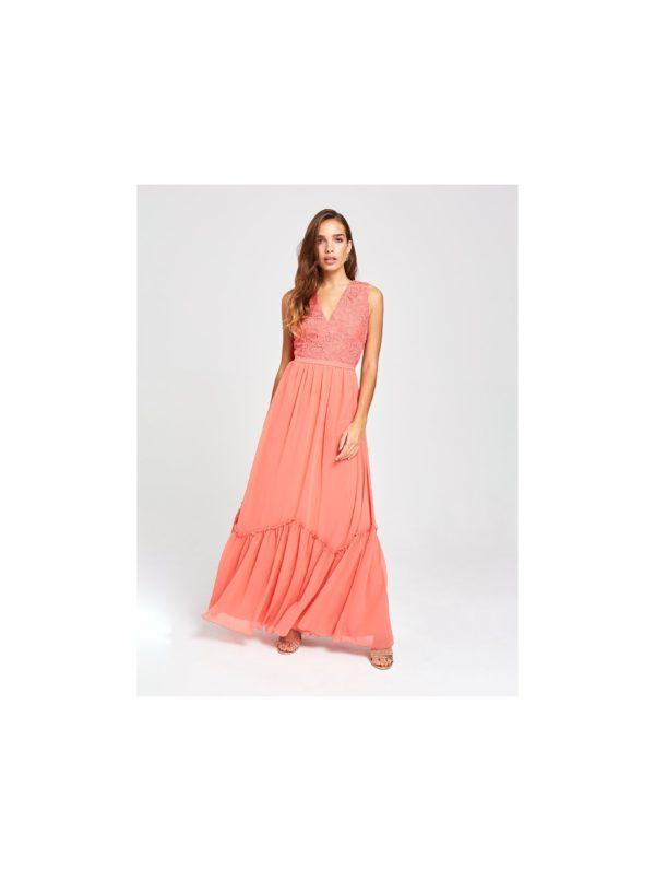 Korálové maxišaty s krajkou Little Mistress - šaty na stužkovú - saty na stuzkovu - spoločenské šaty na stužkovú - šaty na stužkovú s dlhým rukávom - plesové šaty na stužkovú - princeznovské šaty na stužkovú - tylové šaty na stužkovú - dlhé šaty na stužkovú