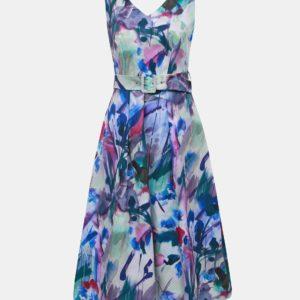 Modro-fialové vzorované šaty Closet - Šaty na stužkovú fialové - saty na stuzkovu - spoločenské šaty na stužkovú - šaty na stužkovú s dlhým rukávom - plesové šaty na stužkovú - princeznovské šaty na stužkovú - tylové šaty na stužkovú - dlhé šaty na stužkovú