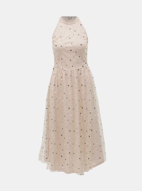 Staroružové tylové bodkované midišaty VILA Emri - Šaty na stužkovú ružové - saty na stuzkovu - spoločenské šaty na stužkovú - šaty na stužkovú s dlhým rukávom - plesové šaty na stužkovú - princeznovské šaty na stužkovú - tylové šaty na stužkovú - dlhé šaty na stužkovú