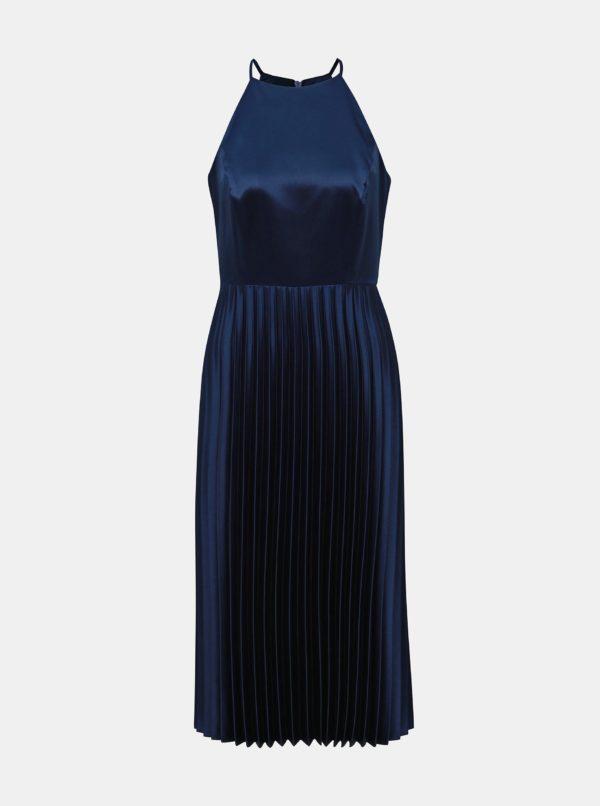 Tmavomodré midišaty s plisovanou sukňou Dorothy Perkins - šaty na stužkovú  kráľovská modrá - saty na stuzkovu - spoločenské šaty na stužkovú - šaty na stužkovú s dlhým rukávom - plesové šaty na stužkovú - princeznovské šaty na stužkovú - tylové šaty na stužkovú - dlhé šaty na stužkovú