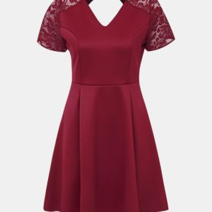 Vínové šaty s krajkou Dorothy Perkins - Šaty na stužkovú vínová bordová - saty na stuzkovu - spoločenské šaty na stužkovú - šaty na stužkovú s dlhým rukávom - plesové šaty na stužkovú - princeznovské šaty na stužkovú - tylové šaty na stužkovú - dlhé šaty na stužkovú