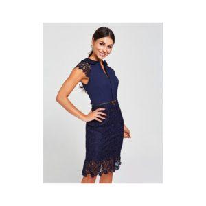 Tmavomodré šaty s krajkou a opaskom Paper Dolls - šaty na stužkovú  kráľovská modrá - saty na stuzkovu - spoločenské šaty na stužkovú - šaty na stužkovú s dlhým rukávom - plesové šaty na stužkovú - princeznovské šaty na stužkovú - tylové šaty na stužkovú - dlhé šaty na stužkovú