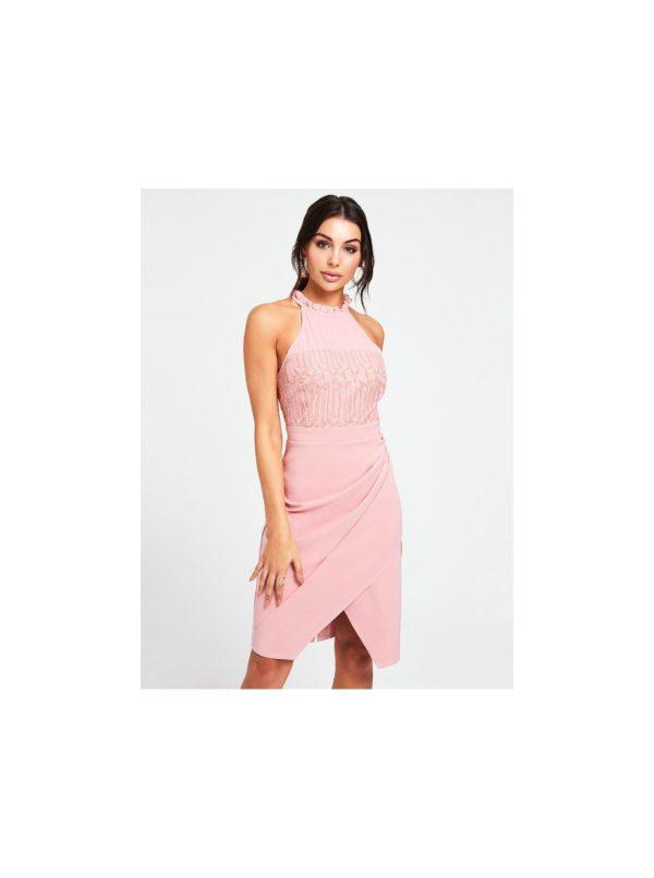 Rúžové šaty s riasením na boku Paper Dolls - Šaty na stužkovú ružové - saty na stuzkovu - spoločenské šaty na stužkovú - šaty na stužkovú s dlhým rukávom - plesové šaty na stužkovú - princeznovské šaty na stužkovú - tylové šaty na stužkovú - dlhé šaty na stužkovú