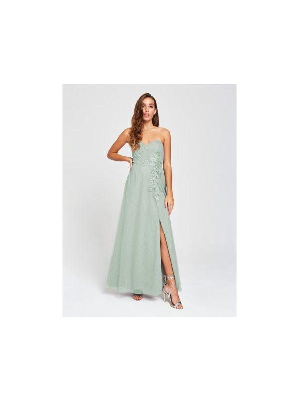 Šedé maxišaty bez ramienok Little Mistress - šaty na stužkovú - saty na stuzkovu - spoločenské šaty na stužkovú - šaty na stužkovú s dlhým rukávom - plesové šaty na stužkovú - princeznovské šaty na stužkovú - tylové šaty na stužkovú - dlhé šaty na stužkovú