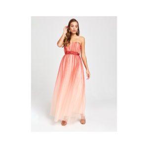 Červené maxišaty bez ramienok s ombré efektom Little Mistress - šaty na stužkovú - saty na stuzkovu - spoločenské šaty na stužkovú - šaty na stužkovú s dlhým rukávom - plesové šaty na stužkovú - princeznovské šaty na stužkovú - tylové šaty na stužkovú - dlhé šaty na stužkovú