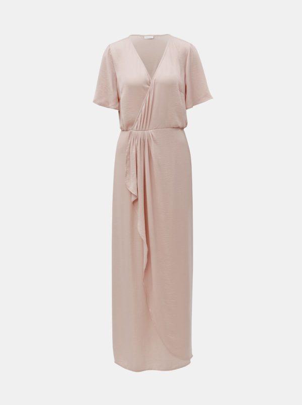 Staroružové prekladané saténové maxišaty VILA Floating - šaty na stužkovú - saty na stuzkovu - spoločenské šaty na stužkovú - šaty na stužkovú s dlhým rukávom - plesové šaty na stužkovú - princeznovské šaty na stužkovú - tylové šaty na stužkovú - dlhé šaty na stužkovú