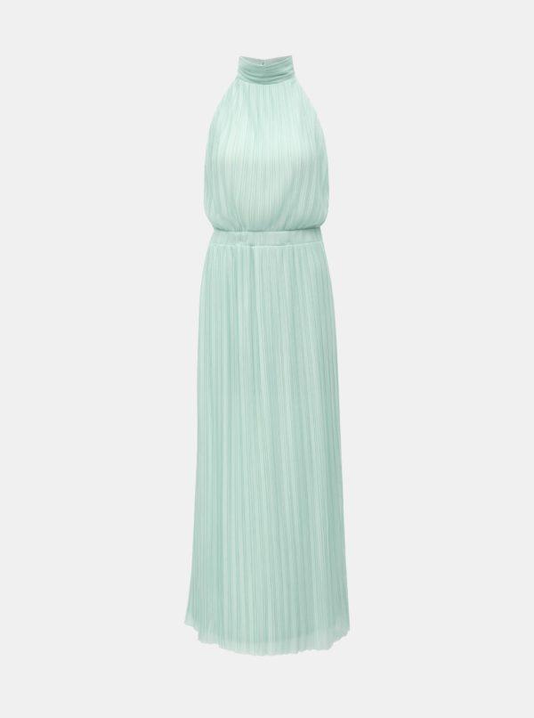 Mentolové plisované maxišaty VILA Tippy - šaty na stužkovú - saty na stuzkovu - spoločenské šaty na stužkovú - šaty na stužkovú s dlhým rukávom - plesové šaty na stužkovú - princeznovské šaty na stužkovú - tylové šaty na stužkovú - dlhé šaty na stužkovú