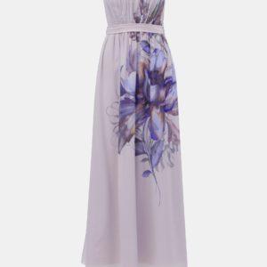 Svetlofialové kvetované maxišaty Little Mistress - šaty na stužkovú - saty na stuzkovu - spoločenské šaty na stužkovú - šaty na stužkovú s dlhým rukávom - plesové šaty na stužkovú - princeznovské šaty na stužkovú - tylové šaty na stužkovú - dlhé šaty na stužkovú