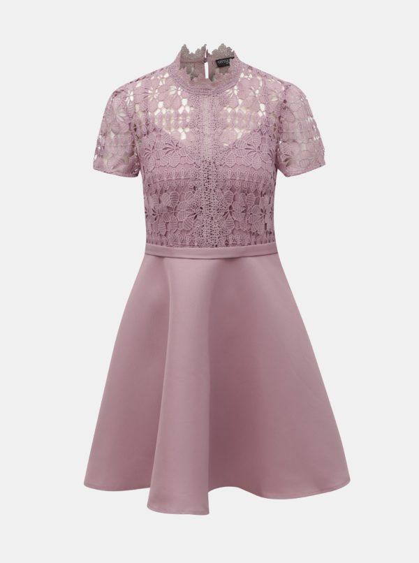 Staroružové šaty s čipkou Little Mistress - Šaty na stužkovú ružové - saty na stuzkovu - spoločenské šaty na stužkovú - šaty na stužkovú s dlhým rukávom - plesové šaty na stužkovú - princeznovské šaty na stužkovú - tylové šaty na stužkovú - dlhé šaty na stužkovú