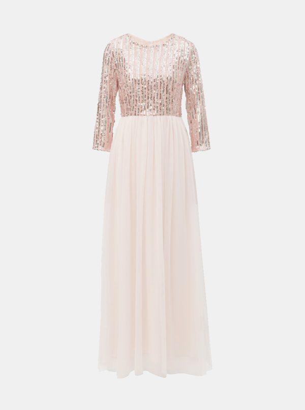 Svetloružové maxišaty s flitrami Little Mistress - šaty na stužkovú - saty na stuzkovu - spoločenské šaty na stužkovú - šaty na stužkovú s dlhým rukávom - plesové šaty na stužkovú - princeznovské šaty na stužkovú - tylové šaty na stužkovú - dlhé šaty na stužkovú