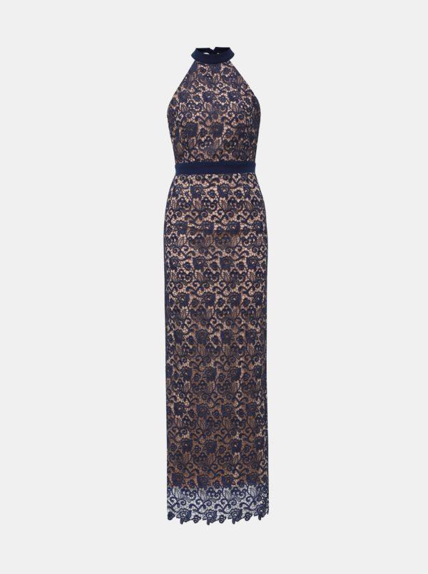 Béžovo-modré krajkové maxišaty s odhaleným chrbátom Paper Dolls - šaty na stužkovú - saty na stuzkovu - spoločenské šaty na stužkovú - šaty na stužkovú s dlhým rukávom - plesové šaty na stužkovú - princeznovské šaty na stužkovú - tylové šaty na stužkovú - dlhé šaty na stužkovú