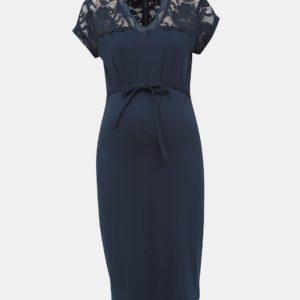 Tmavomodré tehotenské šaty Mama.licious Blackie - šaty na stužkovú  kráľovská modrá - saty na stuzkovu - spoločenské šaty na stužkovú - šaty na stužkovú s dlhým rukávom - plesové šaty na stužkovú - princeznovské šaty na stužkovú - tylové šaty na stužkovú - dlhé šaty na stužkovú