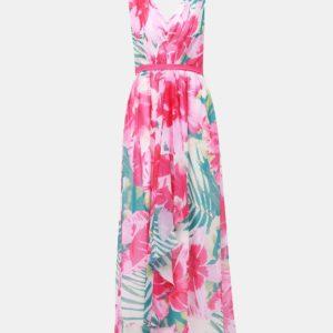 Rúžové kvetované maxi šaty Dorothy Perkins - Šaty na stužkovú ružové - saty na stuzkovu - spoločenské šaty na stužkovú - šaty na stužkovú s dlhým rukávom - plesové šaty na stužkovú - princeznovské šaty na stužkovú - tylové šaty na stužkovú - dlhé šaty na stužkovú