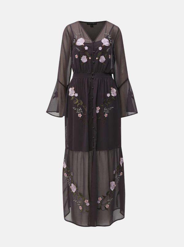 Tmavosivé maxišaty s výšivkou Dorothy Perkins - šaty na stužkovú - saty na stuzkovu - spoločenské šaty na stužkovú - šaty na stužkovú s dlhým rukávom - plesové šaty na stužkovú - princeznovské šaty na stužkovú - tylové šaty na stužkovú - dlhé šaty na stužkovú