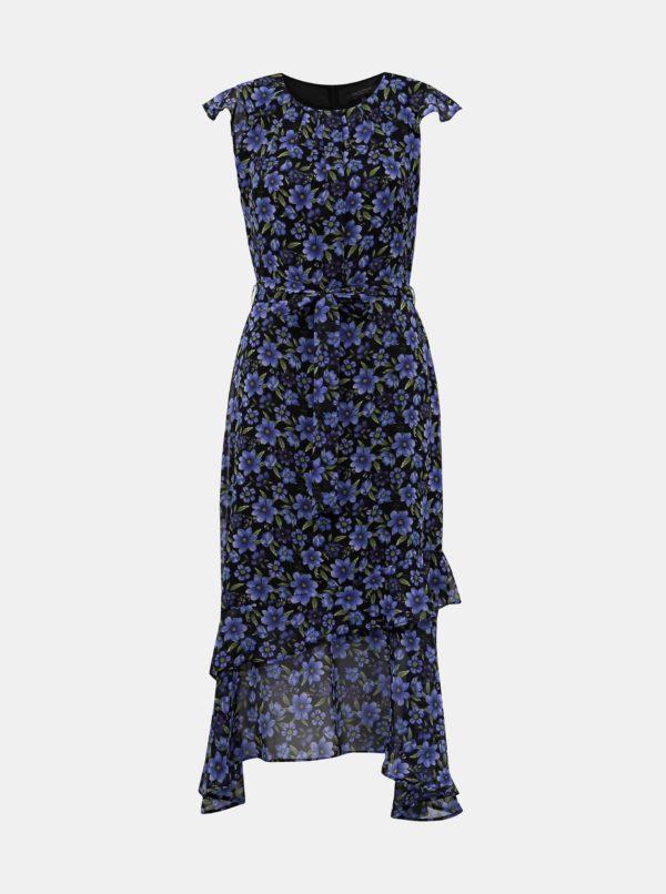 Čierno-modré kvetované maxišaty Dorothy Perkins - šaty na stužkovú - saty na stuzkovu - spoločenské šaty na stužkovú - šaty na stužkovú s dlhým rukávom - plesové šaty na stužkovú - princeznovské šaty na stužkovú - tylové šaty na stužkovú - dlhé šaty na stužkovú
