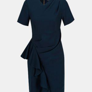 Tmavomodré puzdrové šaty s volánom Closet - šaty na stužkovú  kráľovská modrá - saty na stuzkovu - spoločenské šaty na stužkovú - šaty na stužkovú s dlhým rukávom - plesové šaty na stužkovú - princeznovské šaty na stužkovú - tylové šaty na stužkovú - dlhé šaty na stužkovú