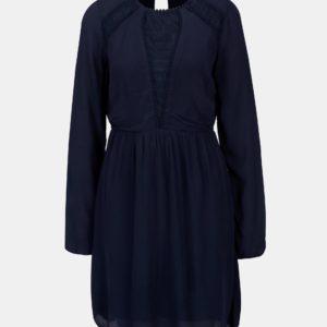 Tmavomodré šaty s dlhým rukávom VILA Dipti - šaty na stužkovú  kráľovská modrá - saty na stuzkovu - spoločenské šaty na stužkovú - šaty na stužkovú s dlhým rukávom - plesové šaty na stužkovú - princeznovské šaty na stužkovú - tylové šaty na stužkovú - dlhé šaty na stužkovú