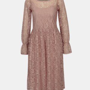 Staroružové čipkované šaty 2 v 1 VILA Jaclyn - Šaty na stužkovú ružové - saty na stuzkovu - spoločenské šaty na stužkovú - šaty na stužkovú s dlhým rukávom - plesové šaty na stužkovú - princeznovské šaty na stužkovú - tylové šaty na stužkovú - dlhé šaty na stužkovú