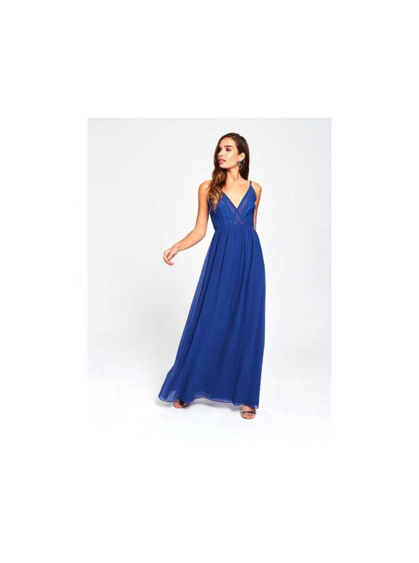 Modré maxišaty s krajkou Little Mistress - šaty na stužkovú - saty na stuzkovu - spoločenské šaty na stužkovú - šaty na stužkovú s dlhým rukávom - plesové šaty na stužkovú - princeznovské šaty na stužkovú - tylové šaty na stužkovú - dlhé šaty na stužkovú