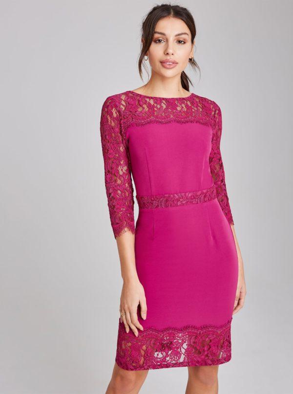 Rúžové púzdrové šaty Paper Dolls - Šaty na stužkovú fialové - saty na stuzkovu - spoločenské šaty na stužkovú - šaty na stužkovú s dlhým rukávom - plesové šaty na stužkovú - princeznovské šaty na stužkovú - tylové šaty na stužkovú - dlhé šaty na stužkovú