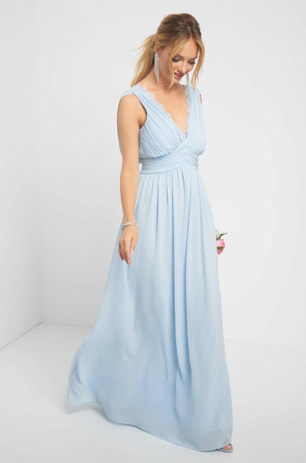 Maxi šaty s čipkou na dekolte - šaty na stužkovú - saty na stuzkovu - spoločenské šaty na stužkovú - šaty na stužkovú s dlhým rukávom - plesové šaty na stužkovú - princeznovské šaty na stužkovú - tylové šaty na stužkovú - dlhé šaty na stužkovú
