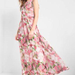 Maxi šaty s kvetinovým vzorom - šaty na stužkovú - saty na stuzkovu - spoločenské šaty na stužkovú - šaty na stužkovú s dlhým rukávom - plesové šaty na stužkovú - princeznovské šaty na stužkovú - tylové šaty na stužkovú - dlhé šaty na stužkovú