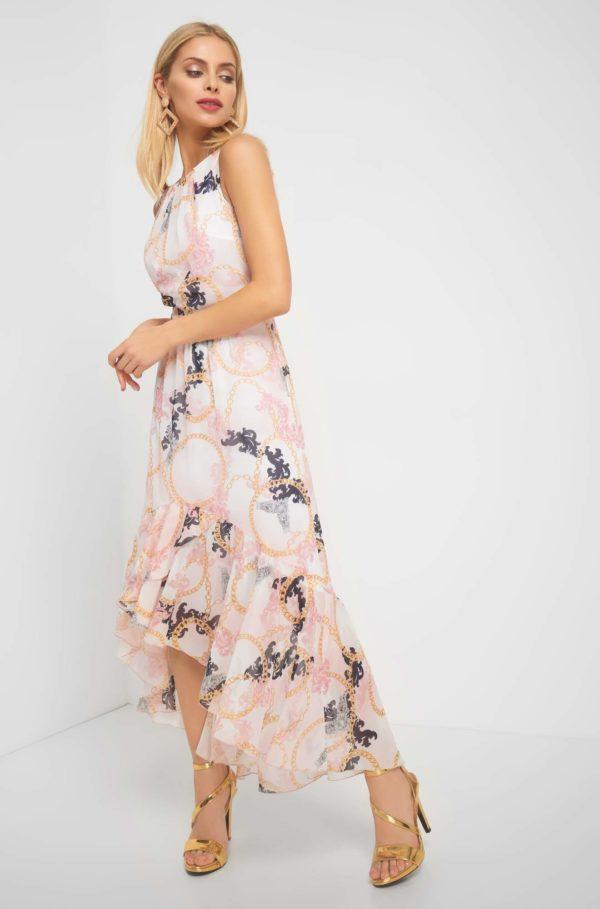 Maxi šaty so vzorom retiazok - šaty na stužkovú - saty na stuzkovu - spoločenské šaty na stužkovú - šaty na stužkovú s dlhým rukávom - plesové šaty na stužkovú - princeznovské šaty na stužkovú - tylové šaty na stužkovú - dlhé šaty na stužkovú