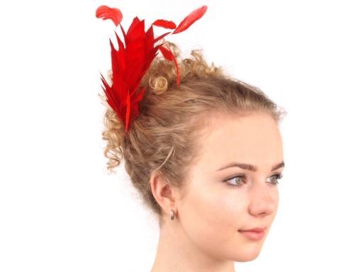 Fascinátor hrebeň s perím - doplnky do vlasov - fascinátor - extravagantné doplnky k spoločenským šatám - čelenka do vlasov - doplnky na stužkovú - šaty na stužkovú mama