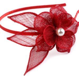 Fascinátor čelenka s kvetom a perlou - doplnky do vlasov - fascinátor - extravagantné doplnky k spoločenským šatám - čelenka do vlasov - doplnky na stužkovú - šaty na stužkovú mama