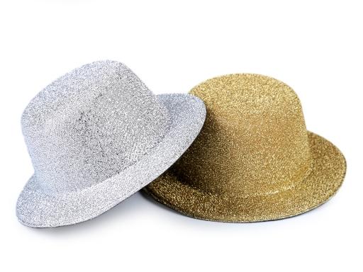 Mini klobúčik /  fascinátor s lurexom na dozdobenie Ø13