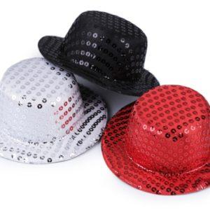 Mini klobúčik /  fascinátor s flitrami na dozdobenie Ø13