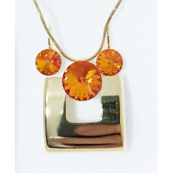 najlacnejšia bižutéria - náhrdelník - lacná bižutéria - bižutéria náušnice - bižutéria náhrdelníky - lacna bizuteria - swarovski sety - swarovsi náhrdelník - najlacnejšia bižutéria - swarovski set - doplnky na stužkovú - šperky sety - šperky z chirurgickej ocele - bižutéria sety - bižutéria náhrdelníky - darček na stužkovú - šperky na stužkovú - set náhrdelník náušnice - Set Block SWAROVSKI-Zlatá/OranžováAB KP4406