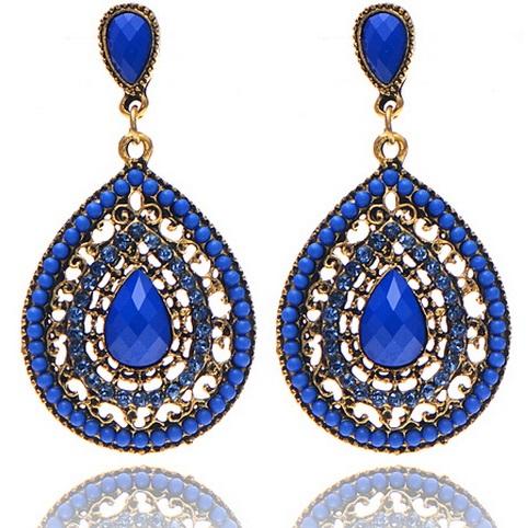 lacna bizuteria - najlacnejšia bižutéria - doplnky na stužkovú - šperky sety - šperky z chirurgickej ocele - darček na stužkovú - šperky na stužkovú - Náušnice Drop Vintage Crystal - Modrá KP2211