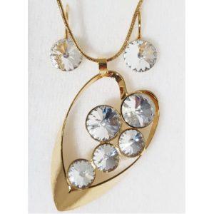 najlacnejšia bižutéria - náhrdelník - lacná bižutéria - bižutéria náušnice - bižutéria náhrdelníky - lacna bizuteria - swarovski sety - swarovsi náhrdelník - najlacnejšia bižutéria - swarovski set - doplnky na stužkovú - šperky sety - šperky z chirurgickej ocele - bižutéria sety - bižutéria náhrdelníky - darček na stužkovú - šperky na stužkovú - set náhrdelník náušnice - Set Ella SWAROVSKI-Zlatá/Kryštálová KP4404