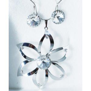 najlacnejšia bižutéria - náhrdelník - lacná bižutéria - bižutéria náušnice - bižutéria náhrdelníky - lacna bizuteria - swarovski sety - swarovsi náhrdelník - najlacnejšia bižutéria - swarovski set - doplnky na stužkovú - šperky sety - šperky z chirurgickej ocele - bižutéria sety - bižutéria náhrdelníky - darček na stužkovú - šperky na stužkovú - set náhrdelník náušnice - Set Kvet SWAROVSKI-Strieborná KP3933