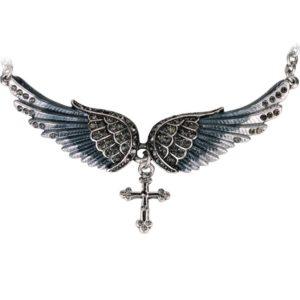 najlacnejšia bižutéria - náhrdelník - lacná bižutéria - bižutéria náušnice - bižutéria náhrdelníky - lacna bizuteria - swarovski sety - swarovsi náhrdelník - najlacnejšia bižutéria - swarovski set - doplnky na stužkovú - šperky sety - šperky z chirurgickej ocele - bižutéria sety - bižutéria náhrdelníky - darček na stužkovú - šperky na stužkovú - set náhrdelník náušnice - Náhrdelník Angel Cross-Čierna KP2271